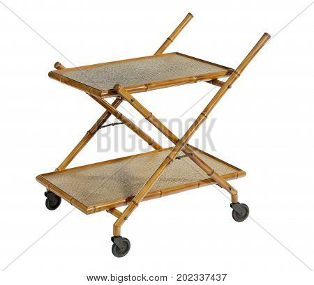 trolley on wheels old antique for dining or resturants isolated on white with clipping path