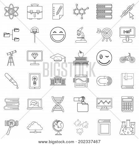 Diploma icons set. Outline style of 36 diploma vector icons for web isolated on white background