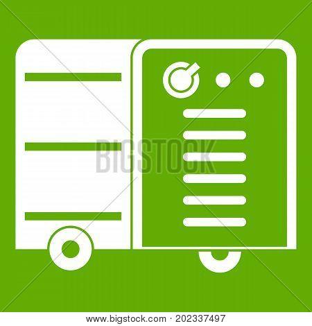 Inverter welding machine icon white isolated on green background. Vector illustration