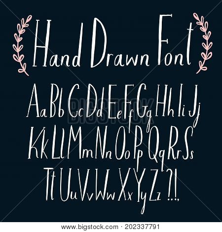 Hand drawn lovely vector ABC letters set. Upper and lower case. Doodle comic font for your design.