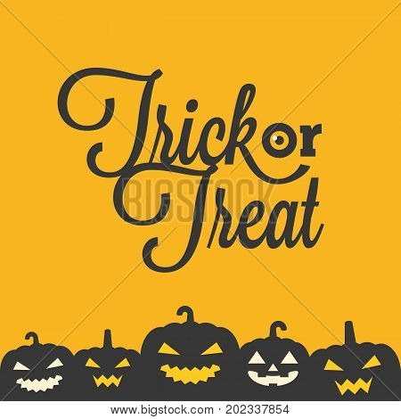 trick or treat typographic with jack o lantern poster for Halloween