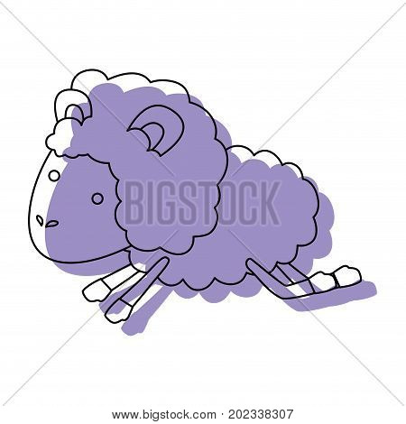 sheep animal jumping purple watercolor silhouette on white background vector illustration