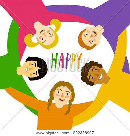 Group of children in circle hugging each other looking down. Cartoon illustration about unity friendshipchildhood and happiness.