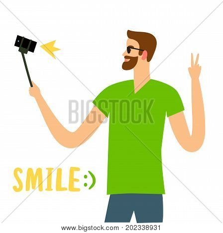 Man with beardl taking self photo with mobile phone. Character illustration for your design.