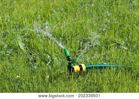 Closeup shot of lawn sprinkler spaying water over green grass field. Irrigation system