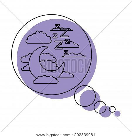 bubble call out with night landscape and snoring sign purple watercolor silhouette on white background vector illustration