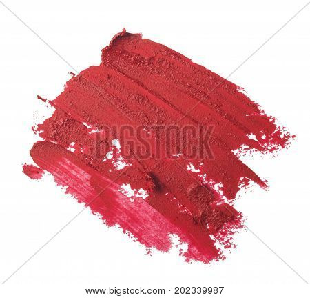 close up of red lipstick texture isolated