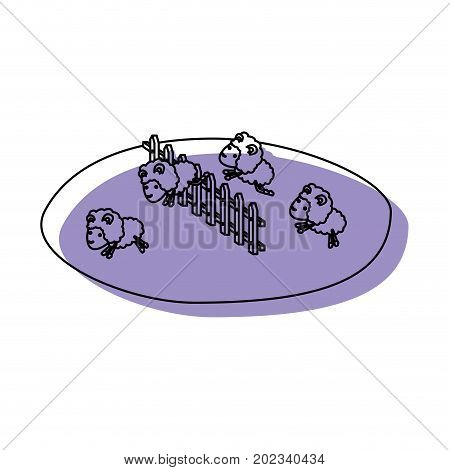 sheeps jump wooden fence grass purple watercolor silhouette on white background vector illustration