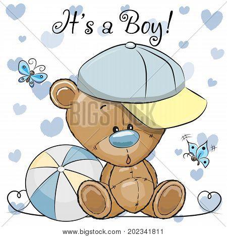 Baby Shower Greeting Card with cute Cartoon Teddy Bear boy