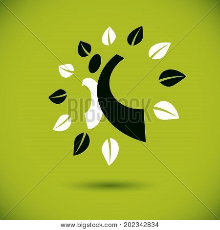 Vector illustration of excited abstract person with raised hands up. Go green idea creative logo. Vegetarian theme logotype. Wanderlust and countryside vacation icon.