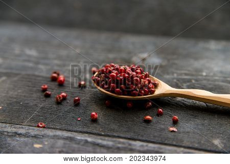 Close up wooden spoon with pink peppercorn on dark background