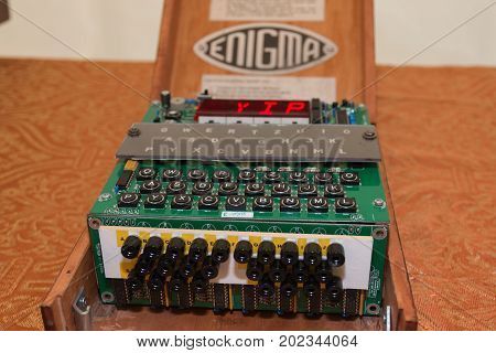 PARMA, ITALY - MAY 2015: The Enigma Cipher Coding Machine from World War II