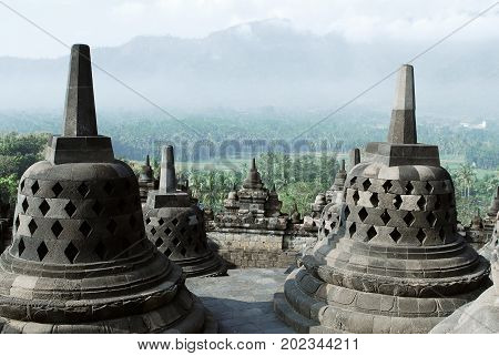 Morning top view from the buddhist temple Borobudur looking over a green forest in the jogjakarta Indonesia.