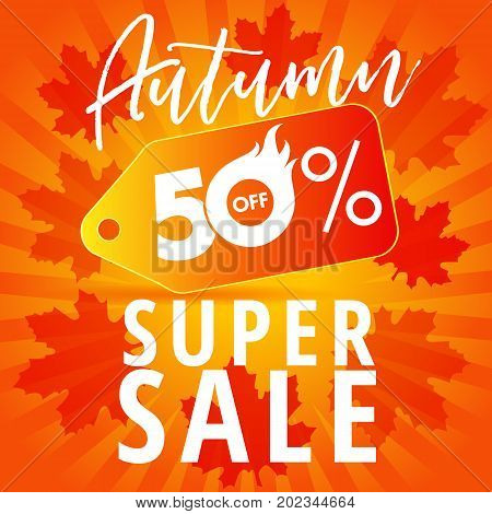 Autumn Sale banner with label tag 50% offer on stripes and red leaves. Autumn 50% off super sale banner. Vector illustration