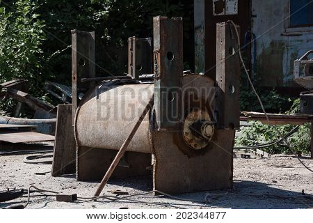 Old Rusty Metal Tank For Heating Water