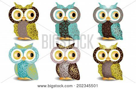 A Set Of Six Owls With An Intricate Pattern On The Wings And Body, Volumetric, Glass Eyes. With The