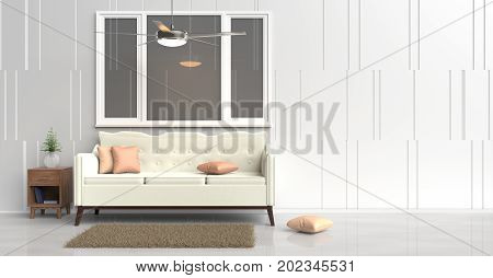 White room decorated with cream sofa, tree in glass vase, orange pillows, Blue book, Wood bedside table, Ceiling Fan, window, White cement wall it is grid pattern and white cement floor. 3d rendering.