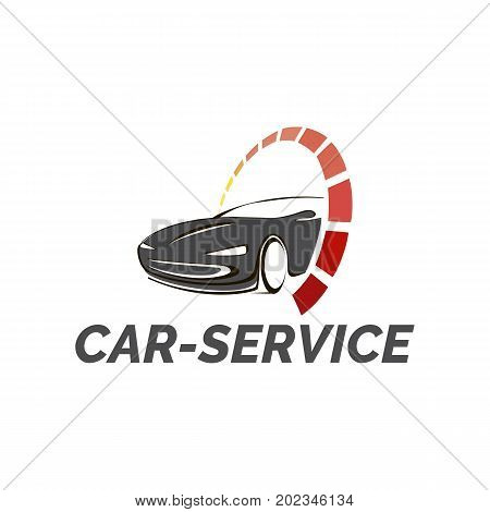 Vector logo template for car service and repair car wash or site auto sales. Car with sign speedometer.