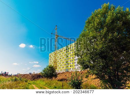 Construction of multi-storey houses in Zelenogradsky district of Moscow, Russia