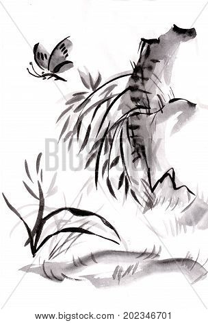 Butterfly in bamboo  on slope , summer, sumi-e