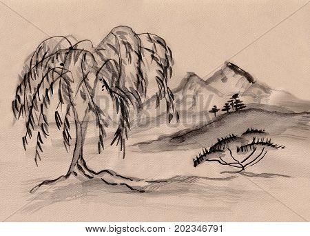 Landscape with willow in distance  the mountains