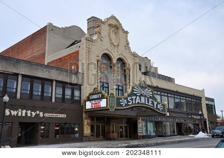 UTICA, NY, USA - FEB. 22, 2013: Stanley Theater is a historic Mexican Baroque style theater built in 1928 on 261 Genesee Street in downtown Utica, New York State, USA.