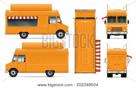 Food truck vector mock-up for car branding and advertising. Mobile kitchen van. Corporate identity element. All layers and groups well organized for easy editing. View from side front back top.