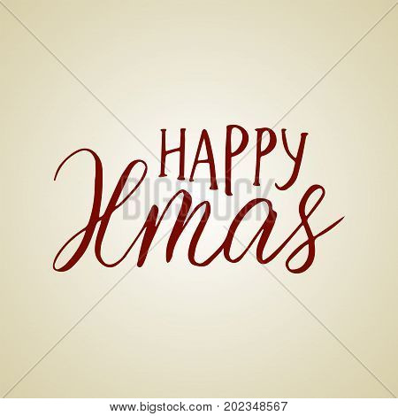 Merry Christmas brush lettering typography. Handwriting text design with winter handdrawn lettering. Happy New Year greeting card decoration. Happy Xmas.