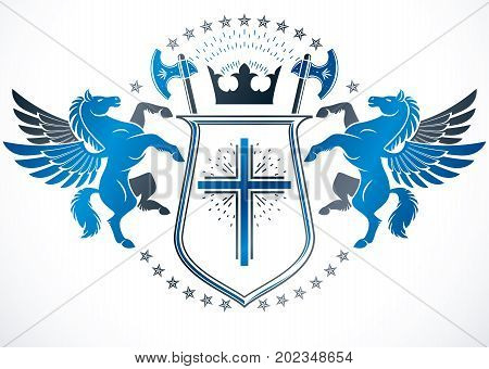 Vintage award design vintage heraldic Coat of Arms. Vector emblem composed using graceful Pegasus religious cross and hatchets.