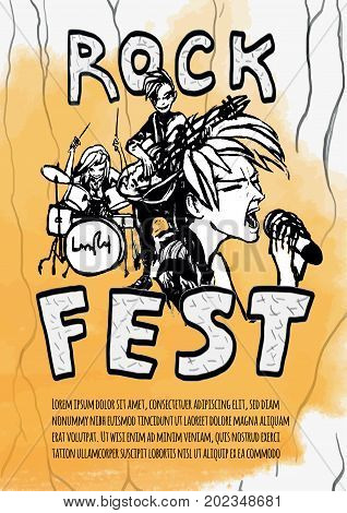 The poster for the rock festival of heavy music . Guitarist, drummer and singer on a yellow background. Rock band. Vector illustration in grunge style.