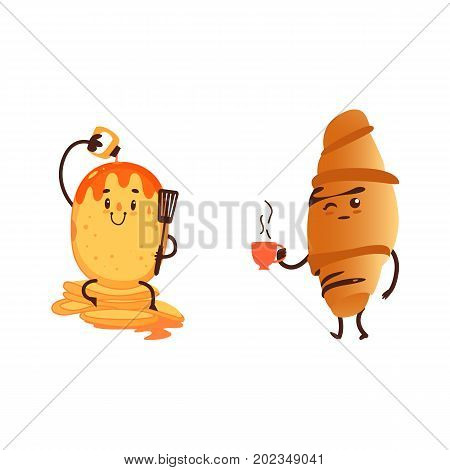 Funny croissant and pancake, two breakfast characters, cartoon vector illustration isolated on white background. Funny croissant with cup of tea and pancake with strawberry sauce