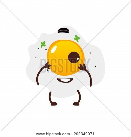 Funny fried sunny side up egg character with smiling human face, cartoon vector illustration isolated on white background. Funny fried egg with one yolk, breakfast character