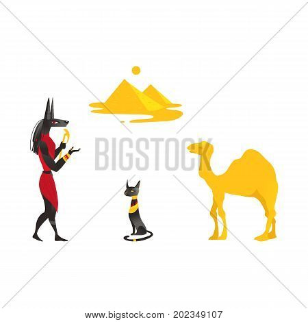 Set of Egypt symbols - Anubis, Bastet black cat, camel and pyramids, flat cartoon vector illustration isolated on white background. Set of Egyptian symbols - Anubis, black cat, camel and pyramids