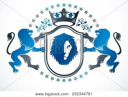 Old style heraldry heraldic emblem vector illustration composed with wild lion and imperial crown heraldic vector.