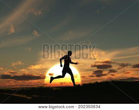 3d illustration of a man running at dawn