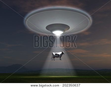 3d illustration of a cow abducted by a UFO