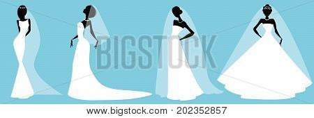 Wedding fashion. Collection of Brides in Different dress style. Bridal shower decor set. Woman silhouette for Design wedding template kit.