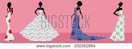 Set of glamorous silhouettes of fashion girls in beautiful dresses on pink background. Glamorous lady cocktail girl party evening dress.