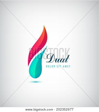 Vector abstract dual, 2 parts vibrant logo. two colors