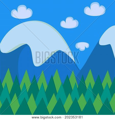 Material colours mountain landscape vector illustration. Retro poster of mountain forest landscape material design.