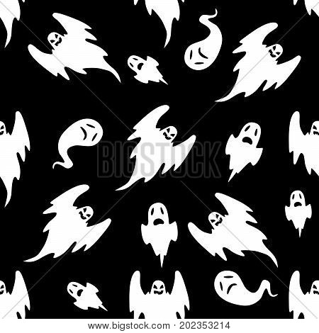 Seamless pattern of eerie flying halloween ghosts on black background.