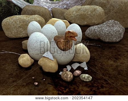 3d illustration of a dinosaur emerging from an egg