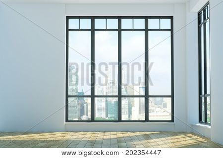 Bright unfurnished interior with wooden floor concrete walls city view and sunlight. 3D Rendering