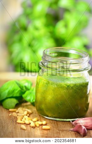Pesto genovese - Glass jar of pesto sauce