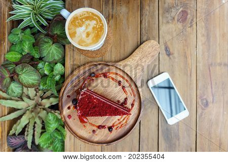 Coffee, Cake, Velvet, Red, Cappuccino, Cup, Breakfast, White, Latte, Milk, Sweet, Morning, Beans, Fo