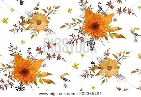 Vector seamless floral pattern of orange yellow gerbera flower daisy cosmos flowers watercolor fall cute colorful leaves seasonal plants berry branch. Elegant bright autumn summer design background