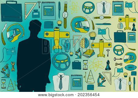 Man silhouette on blue background with drawn male items