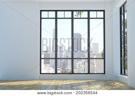 Modern Unfurnished Interior With City View