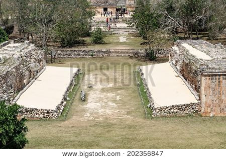 An aerial image of the ball game in the ancient Mayan city of Uxmal daylight color. Yucatan Mexico.