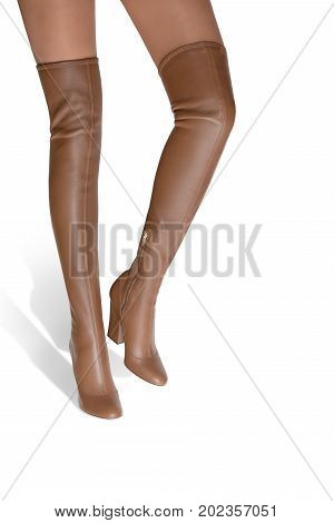 Hessian. A girl in high-heeled boots goes on an white background.